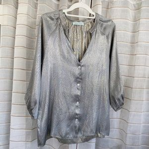 ✨ Geren Ford Silk Metallic Blouse